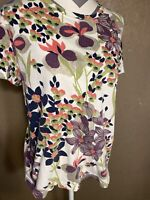 Hot Cotton Size Large Floral Multicolor Short Sleeve T-Shirt Round Neck