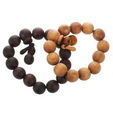 2 Pieces 18mm Wood Bracelet Link Wrist Black Yellow Tibetan Buddha Beads PR L8c2