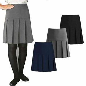 Ladies Girls Zip Fastening and Elasticated Back Hand Pleated Fancy Mini Skirt