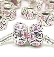 2pcs Pink Crystal Swirl Beads October Birthstone for European Charm Bracelet
