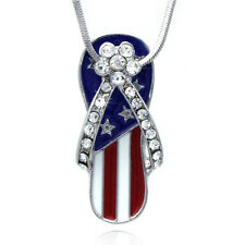 4th of July American Flag Flip Flop Sandal Flower Pendant Necklace Jewelry Gift