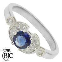 Bjc 18 Carats Saphir or Blanc & Diamant Solitaire TAILLE Bague de Fiançailles
