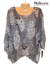 NWT $54.50 SZ L Style&Co Print Chiffon Grey Long Sleeve Embellished Top Blouse