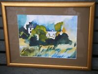 Abstract Watercolour Painting Landscape ''The House in the Trees'' - E.Mollett