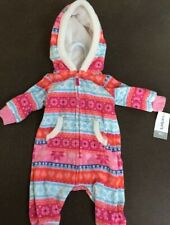 Girls 3 Months Print Print Fleece Hooded 1pc Outfit NEW...