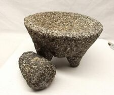 Vtg Huge Granite Stone Mortar & Pestle Spice Grinder Herb Pharmacy Pill Crusher