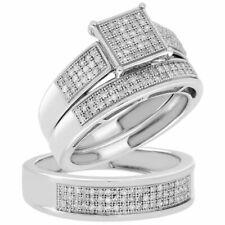 10K White Gold  FN Silver Diamond Square Engagement Ring Wedding Band Trio Set