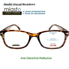 MIASTO MULTI-FOCAL COMPUTER READER READING GLASSES+2.50 TORTOISE BROWN~ NO LINE