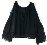 Guess Womens Peasant Bell Sleeve Top Ruffle  V Neck Black, XL Cold Shoulder NWT