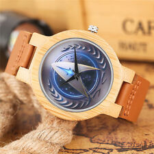 Cool Star Trek Bamboo Men Boy Sport Quartz Wrist Watch Genuine Leather Gift