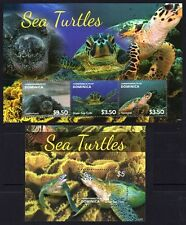 Dominica 2014 MNH MS+SS, Leatherback Green Hawksbill Sea Turtles, Reptiles (R8n)