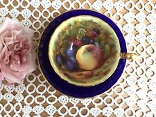 "Vintage ""AYNSLEY"" Cabinet Cup & Saucer ORCHARD GOLD/FRUIT Cobalt Blue D JONES"