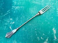 ART NOUVEAU BARBED PICKLE FORK ELEGANT FAN SHAPE - ANTIQUE SILVER PLATE EPNS A1