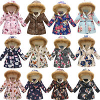 Toddler Baby Unisex Winter Cartoon Print Warm Jacket Hooded Windproof Coat