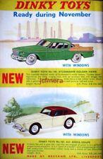 DINKY TOYS Studebaker Golden Hawk, A.C. Aceca Print AD - 1958 Car Toy ADVERT