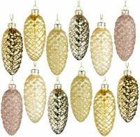 12Pcs Cute Christmas Tree Pendant Glass Decoration for Home Ornaments Xmas Gift