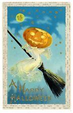 Happy Halloween -JOL WITCH & MAN IN MOON- Embossed SB/BS Postcard