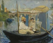 """perfect oil painting handpainted on canvas """"a man and his wife on a boat""""@NO8000"""