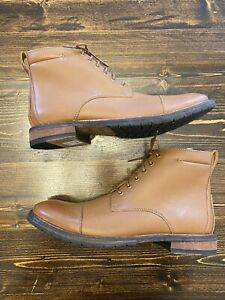 Clarks Clarkdale Hill Dark Tan Leather Boots, Mens Size 7.5, New W Box