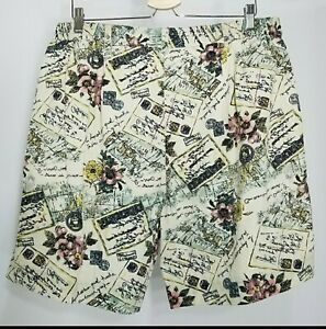 Vintage 80s Shorts Womens 18W Cream Green Black Floral Linen High Rise Baggy