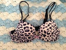 Nwt Victoria's Secret Very Sexy Push up Pigeonnant Leopard Bra Pink Navy 32 A