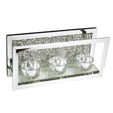 Mosaic Crystal Mirrored Frame Triple Tea Light Candle Glass Holder Diamonds Like