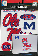 "Ole Miss REBELS University of Mississippi 6 Laptop Decals 6-1 3/8"" easy"