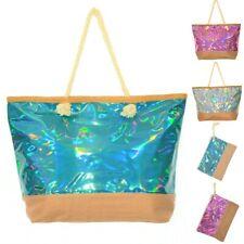 XXL Tasche Strandtasche oder Kosmetikbeutel Metallic NEU Badetasche Beauty Bag