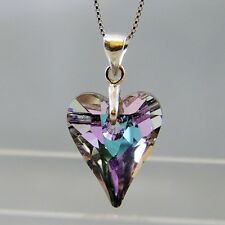 925 Sterling Silver Swarovski Elements Crystal VL Wild Heart Pendant Necklace