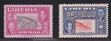 Liberia Sc C68-C69 MNH. 1952 Ashmun-Tubman Air Mail w/ INVERTED CENTER cplt, VF