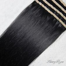 "22"" 100% Human Hair 3M Seamless Tape-in Extensions Remy #1 (Jet) Black"