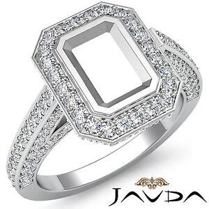 Halo Pre-Set F-G Diamond Engagement Emerald Semi Mount Ring 1.25Ct 14k W Gold
