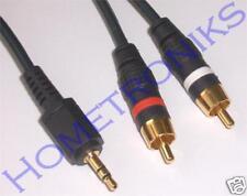 GOLD 2 METRE MINI JACK TO 2 PHONO LEAD IPOD MP3 PC