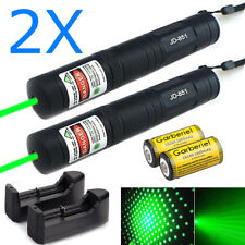 New listing 2x Military 532nm 1mW Green Laser Pointer Pen Strong Beam Light+Battery+Charger