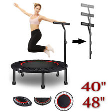 """48""""40"""" Mini Trampoline Rebounder Adults Kids Fitness Gym Exercise with Handle UK"""