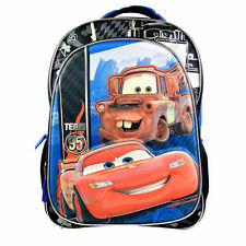 """Backpack 16"""" + Lunch Bag Tote Pop Out 3D Cars McQueen Blue Red Black New"""