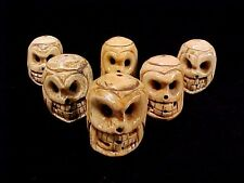 """Big Carved Bone Skull Lot of Six Goth Heads Day of Dead Skeleton 1 1/2"""" Bead"""