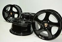 "18"" Porsche 911 996 C4S Factory OEM Turbo wheels rims black"