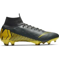 New Men's Nike Mercurial Superfly 6 Pro FG Gray/Yellow Soccer Cleats AH7368-070