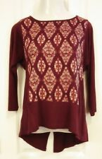 LUCKY BRAND Burgundy High-Low Split Back Top Blouse Tunic. Size L. NEW with tags