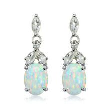 Sterling Silver Created White Opal and white Topaz Oval Dangle Earrings