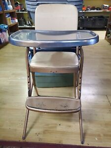 Vintage Cosco Metal High Chair Star Pattern Foldable Removable Tray Foot Rest