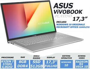 NOTEBOOK ASUS 17,3 RYZEN 7 3700 RAM 8GB DDR4 SSD 512GB RADEON FHD PC PORTATILE