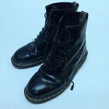 DR MARTENS DMs 1460 PATENT LEATHER Black ANKLE BOOTS Size 8 Used Weathered