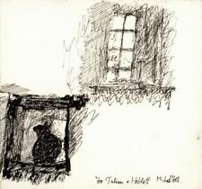 MICHAEL ANTHONY FELL Small Pen & Ink Drawing CAT IN WINDOW SKETCH