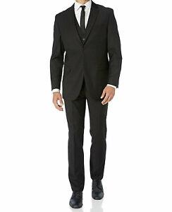 Men's Black Caravelli Slim Fit Suit with Pants Two Button with Notch Lapels
