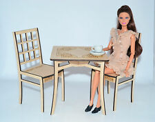 wooden set: Table & 2 chairs for dolls 1:6 1/6 furniture FR Barbie Momoko