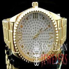 NEW MEN'S WOMEN'S 14K YELLOW GOLD FINISH LAB DIAMOND SIMULATE HIP HOP WATCH