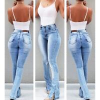 Women Retro Denim Jeans High Waist Bell Bottom Flare Pants Wide Leg Trousers New