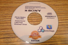 Sony NET MD CD Minidisc Software 4.3  Open MG Sonic Stage.Win 98 -ME -XP- Win 7